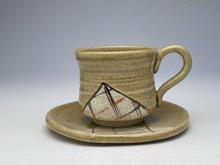 黄瀬戸格子コーヒーカップ
