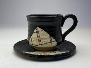 黒織部格子コーヒーカップ