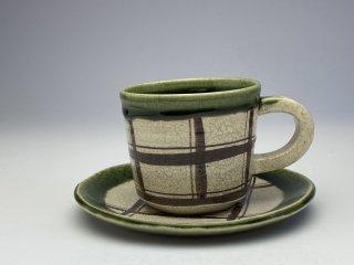 織部チェック柄コーヒーカップ