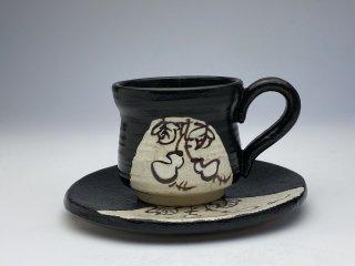 黒織部ひさごコーヒーカップ