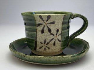 たくさん飲める大きめ織部花コーヒーカップ