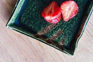 ソーサーが四角い織部竹コーヒーカップ