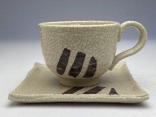 ソーサーが四角い志野竹コーヒーカップ