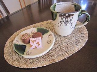 織部杵形ぶどう和風マグカップ