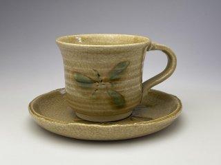 たくさん飲める大きめ黄瀬戸花コーヒーカップ