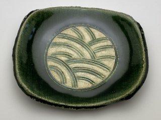 織部たわら形たたら小皿(青海波)
