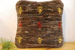 ギャッベクッションカバー/茶色の原毛に木