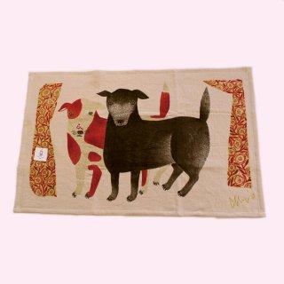 ティータオルコレクション イヌ「黒犬チョークと赤斑点犬のテン」