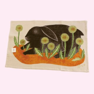ティータオルコレクション ウサギ「シアワセな黒兎」