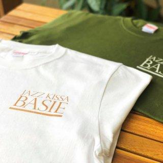 ジャズ喫茶ベイシーロゴ入りTシャツ ホワイト×ゴールドロゴ【いちBAオリジナル商品】