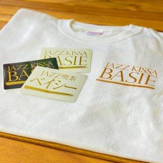 【3種ステッカー付】ジャズ喫茶ベイシーロゴ入りTシャツ ホワイト×ゴールドロゴ【いちBAオリジナル商品】