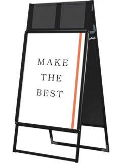 ポスターグリップスタンド看板カタログケース付(屋内用) A1両面ブラック