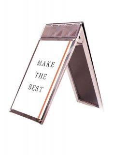 ポスター用スタンド看板マグネジ パンフレットケース付 A1ロウ両面ブラック(屋内用)