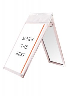 ポスター用スタンド看板マグネジ パンフレットケース付 A1ロウ両面ホワイト(屋内用)