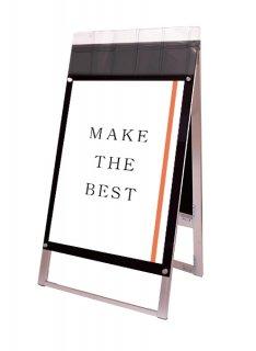 ポスター用スタンド看板マグネジ パンフレットケース付 A1両面ブラック(屋外用)