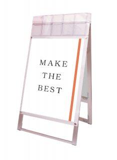 ポスター用スタンド看板マグネジ パンフレットケース付 A1両面ホワイト(屋外用)