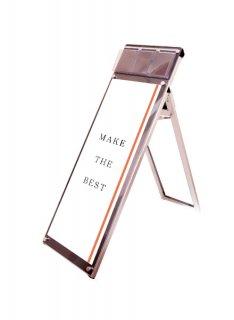 ポスター用スタンド看板マグネジ パンフレットケース付 A3縦縦ロウ片面ブラック(屋内用)