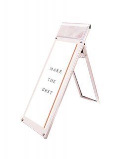 ポスター用スタンド看板マグネジ パンフレットケース付 A3縦縦ロウ片面ホワイト(屋内用)