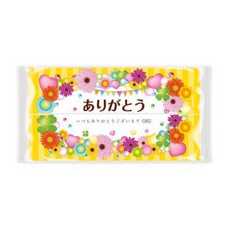 ありがとうピローティッシュ30W:花柄でありがとうのメッセージ入りラベル