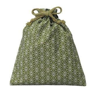 コットン和風柄巾着(大)麻の葉柄