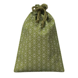 コットン和風柄巾着(小)麻の葉柄