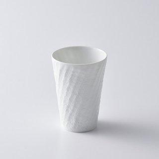 砂紋フリーカップ小・(白) 径6.0×8.8cm
