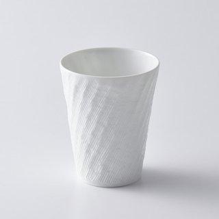 砂紋フリーカップ大・(白)径8.5×10cm