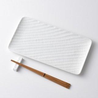 砂紋長角皿・白27.5×15.0cm