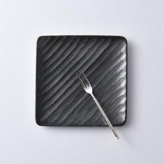 砂紋銘々皿・黒14.7×14.7cm