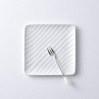 砂紋銘々皿・白14.7×14.7cm