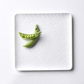 砂紋パン皿・白17.5×17.5cm