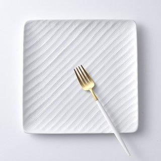 砂紋正角大皿・白21.3×21.3cm