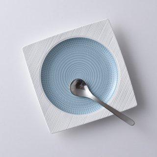 ブルースプレッド・角丸大皿 17.5×17.5cm