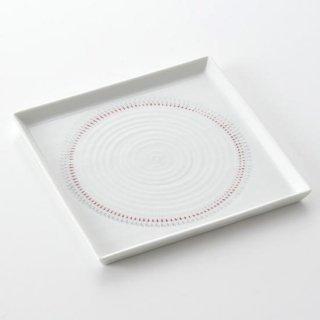 色染絆 13.5cm スクウェア皿(赤)