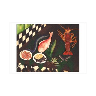 オリジナルポストカード 上山二郎「テーブルの魚」