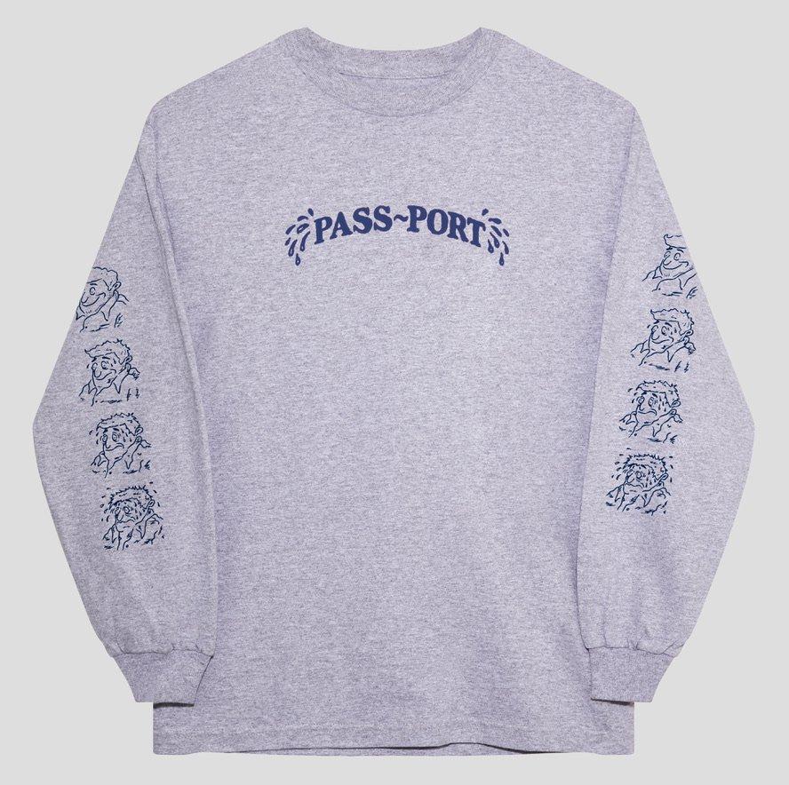 パスポート SWEATY PUFF PRINT L/S Tシャツ GREY HEATHER PASS~PORT SWEATY PUFF PRINT L/S TEE  GREY HEATHER