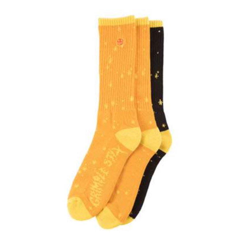 アンタイヒーロー GRIMPLE DUST ソックス 3 Sock Set ANTIHERO GRIMPLE DUST SOX 3 Sock Set ORANGE/YELLOW