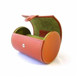 ネクタイケース ウォッチケース 腕時計ケース 円筒形 ハード 本革 イタリアンレザー