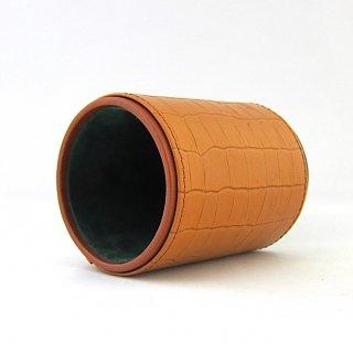 ペンスタンド メガネスタンド 眼鏡スタンド 円筒型 本革 クロコダイル