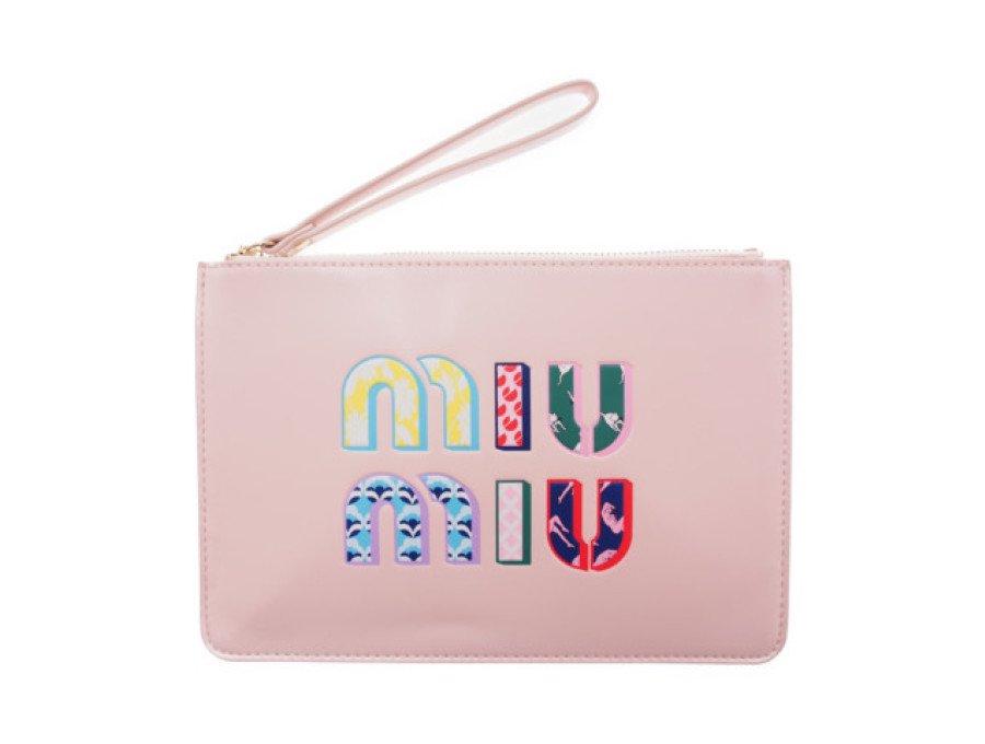 【新品】ミュウミュウ MIU MIU ノベルティ コスメポーチ ポシェット PARFUMS フラット ピンクの商品画像
