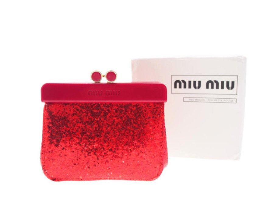 【新品】ミュウミュウ MIU MIU ノベルティ がま口ポーチ PARFUMS グリッター レッドの商品画像