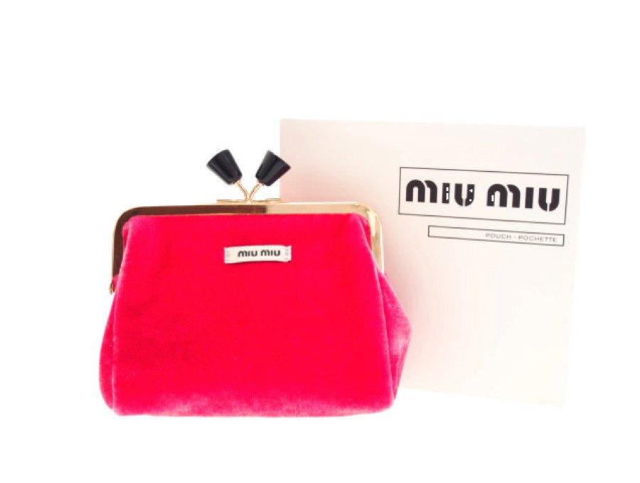 【新品】ミュウミュウ MIU MIU ノベルティ がま口ポーチ ポシェット ピンクの商品画像