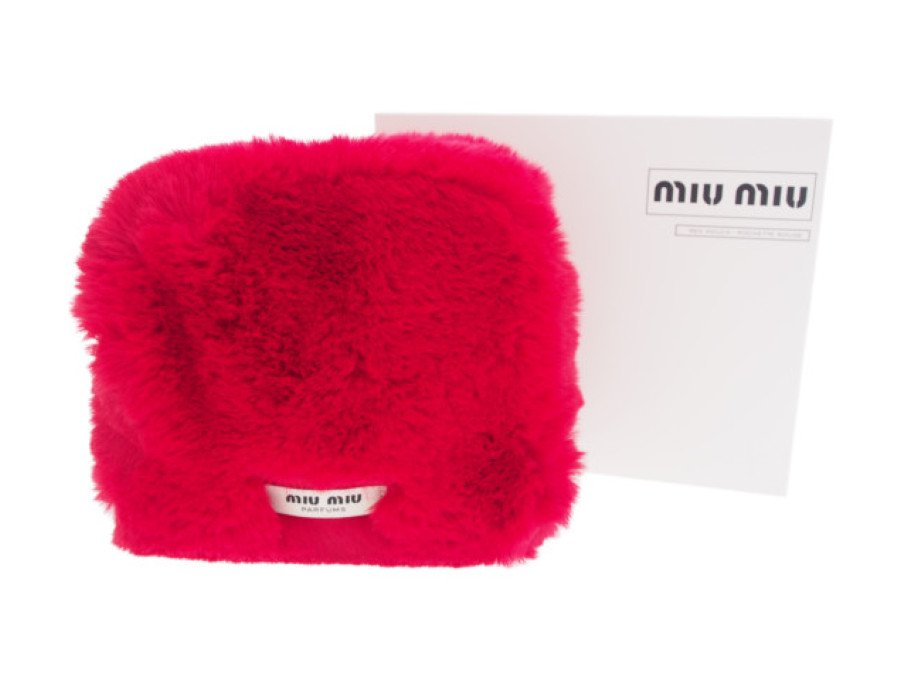 【新品】ミュウミュウ MIU MIU ノベルティ クラッチバッグ フェイクファー 赤の商品画像
