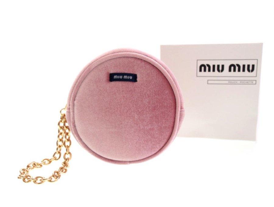 【新品】ミュウミュウ MIU MIU ノベルティ ラウンドポーチ チェーン付 起毛生地 ピンクの商品画像