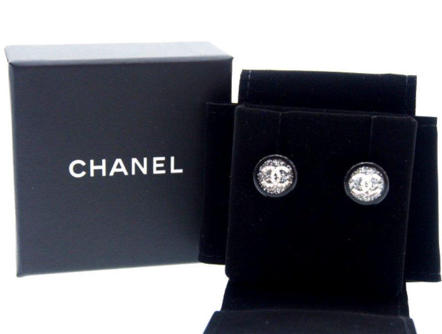 【極上】シャネル CHANEL ラウンドピアス キャッチ式 ココマーク グリッターの商品画像