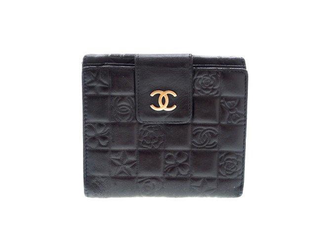 【中古】シャネル CHANEL アイコンライン型押し 2つ折り財布 Wホック 黒 ブラックの商品画像