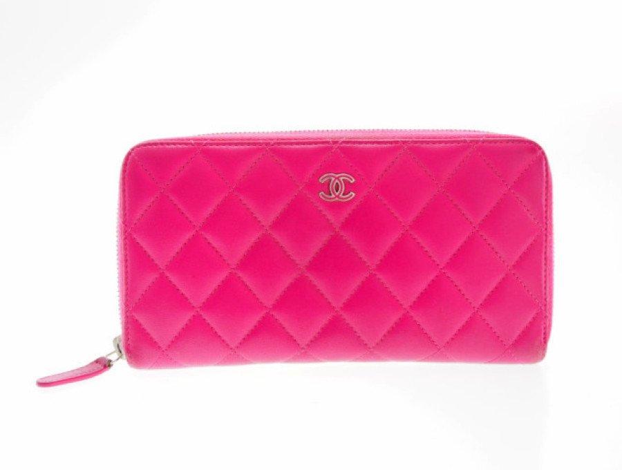 【中古】シャネル CHANEL マトラッセ 長財布 ラウンドファスナー ピンクの商品画像