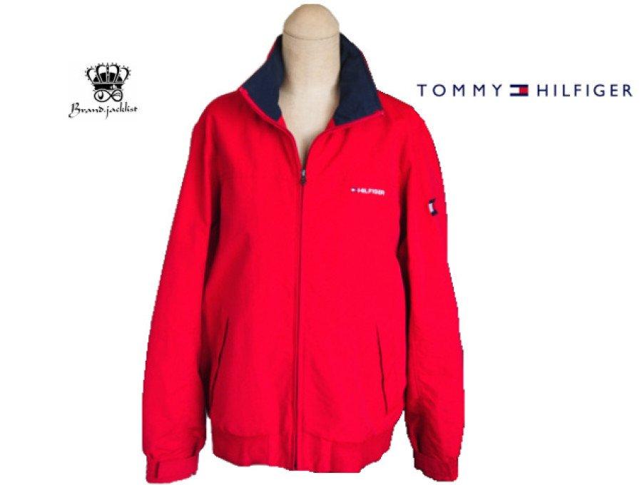 【中古】トミーヒルフィガー TOMMY HILFIGER ナイロンジャケット レッド Lサイズの商品画像