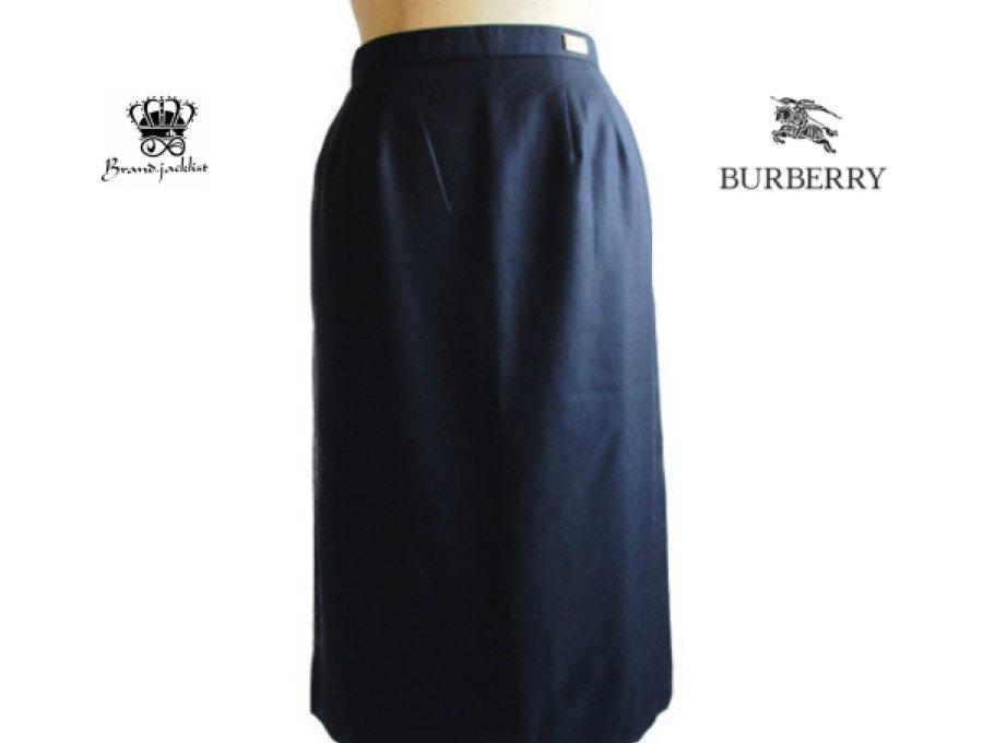 【美中古】バーバリー Burberry ロングスカート 11ARサイズ ネイビー  絹50%の商品画像