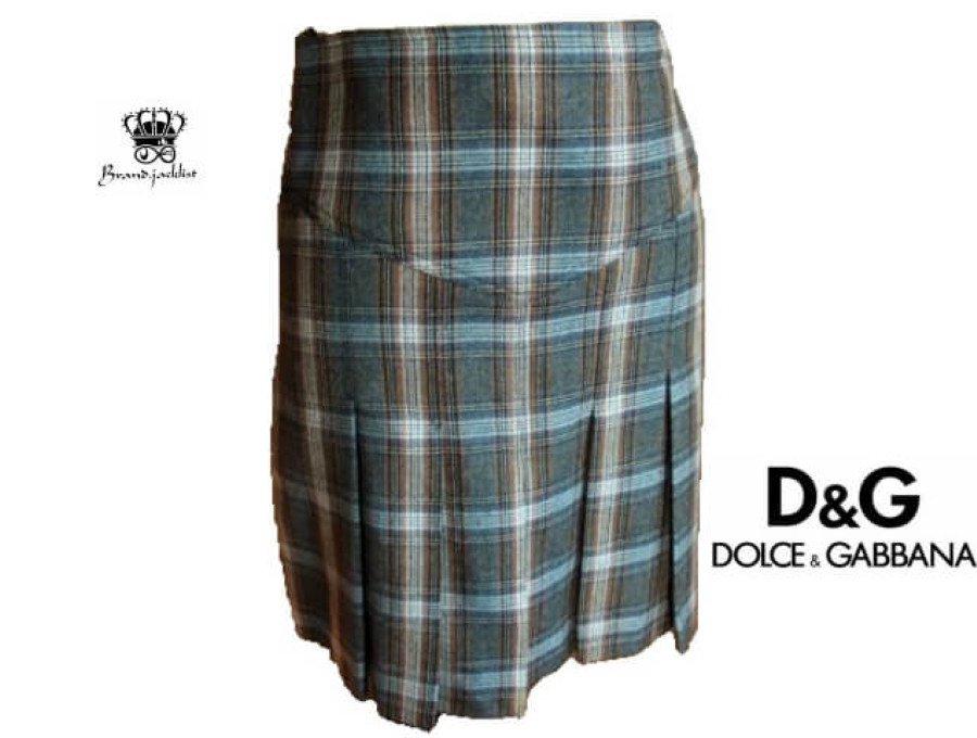 【美中古】ドルチェ&ガッバーナ DOLCE&GABBANA スカート チェック柄 灰/茶 イタリアサイズ38の商品画像